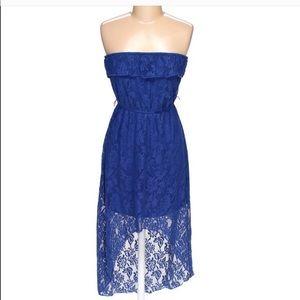 Trixxi Blue Lace Ruffle Top High-low Dress